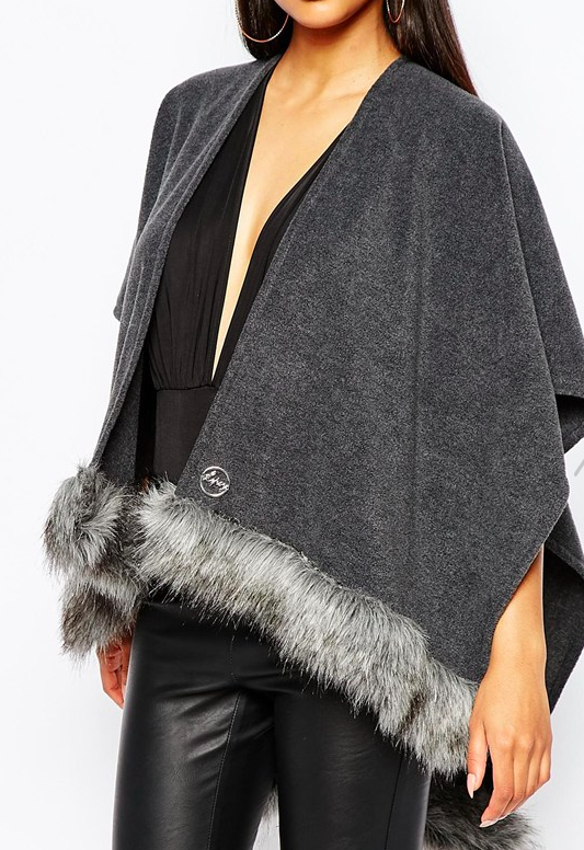 Lipsy cape with faux fur