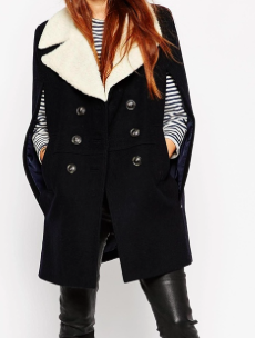Asos button cape coat