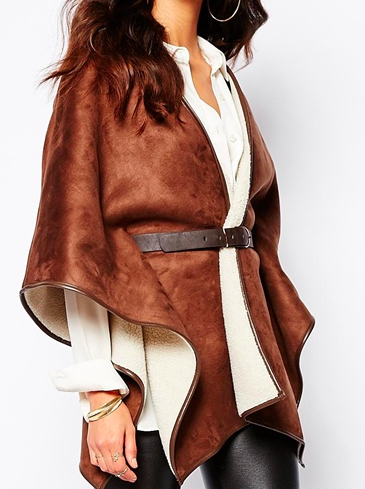River Island shearling belted cape