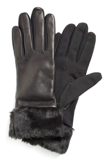 Fownes Brothers Fownes Brothers Leather Tech Gloves with Faux Fur Trim