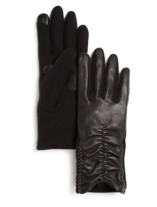 Echo rouched leather gloves