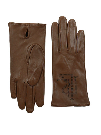 LAUREN logo leather gloves