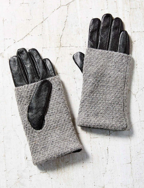 Urban Outfitters knit leather gloves