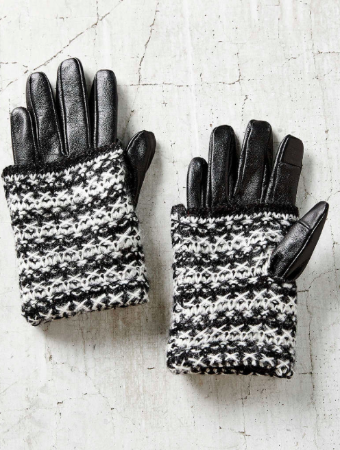 Urban Outfitters knit and leather gloves