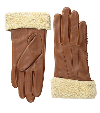 LAUREN by Ralph Lauren Shearling Cuff Leather Glove