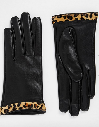 Asos leather gloves with leopard trim