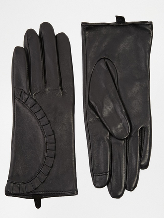 Echo leather detail gloves