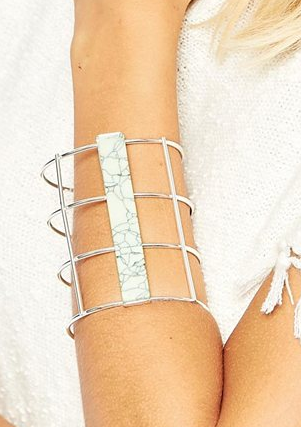 ASOS Caged Cuff Bracelet with Semi Precious Plaque