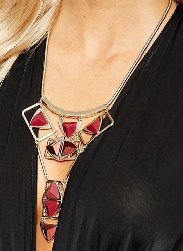 Oasis Multi Triangle Articulated Bib Collar Necklace