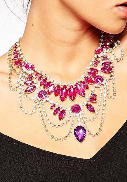 Little Mistress Statement Gem Drape Necklace