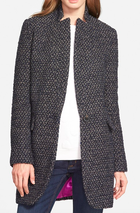 BCBGeneration Inverted Notch Tweed Coat