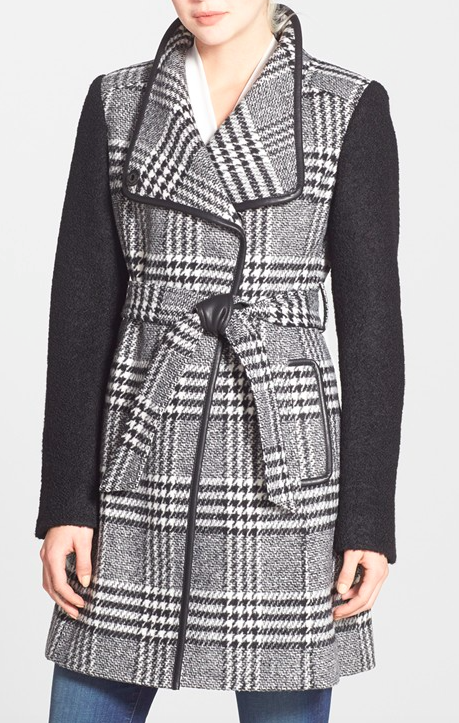GUESS Bouclé Sleeve Plaid Wrap Coat