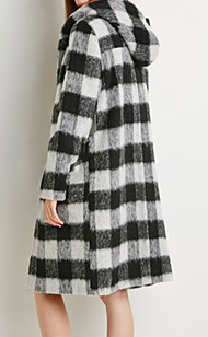 Forever 21 plaid hooded coat