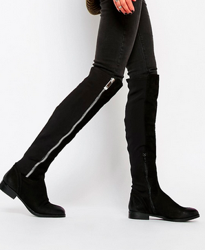 ALDO Dyna Black Leather Exposed Zip Knee Boots