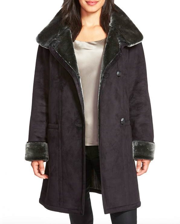 Gallery Stand Collar Faux Shearling Coat