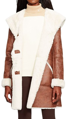 Lauren Ralph Lauren Hooded Faux Shearling Coat