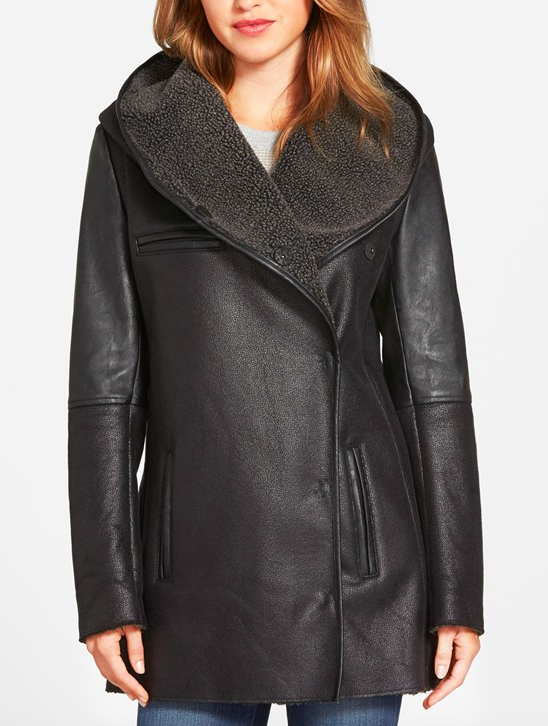 Sam Edelman Sam Edelman 'Sydney' Hooded Faux Shearling Coat