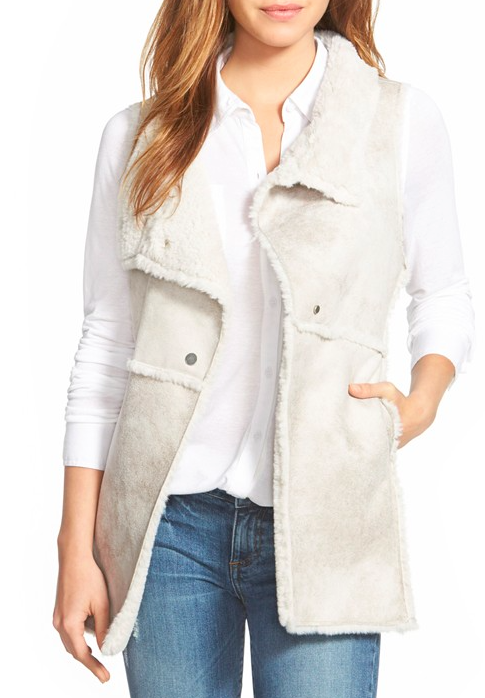 Dylan Long Raw Edge Faux Shearling Vest