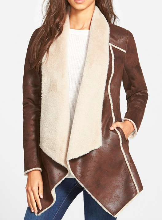 BCBGeneration Faux Shearling Drape Front Coat