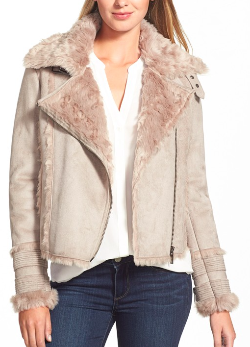 Buffalo by David Bitton Asymmetrical Zip Front Faux Shearling Jacket