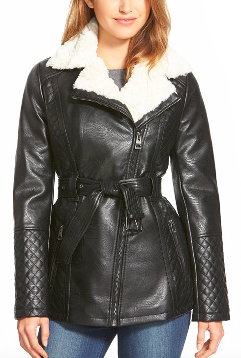 GUESS Belted Asymmetrical Faux Leather Coat with Faux Shearling Trim