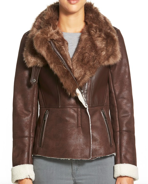 T Tahari Asymmtrical Faux Shearling Jacket