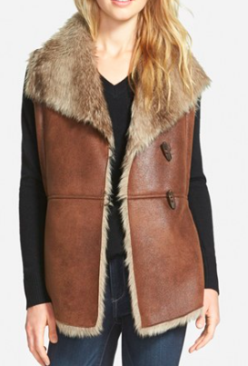Ellen Tracy Toggle Closure Faux Shearling Vest