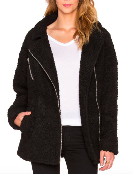 JOA ASYMMETRIC ZIP UP SHEARLING JACKET