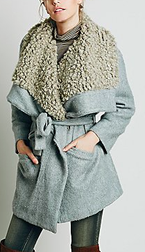 Free People shearling wrap coat