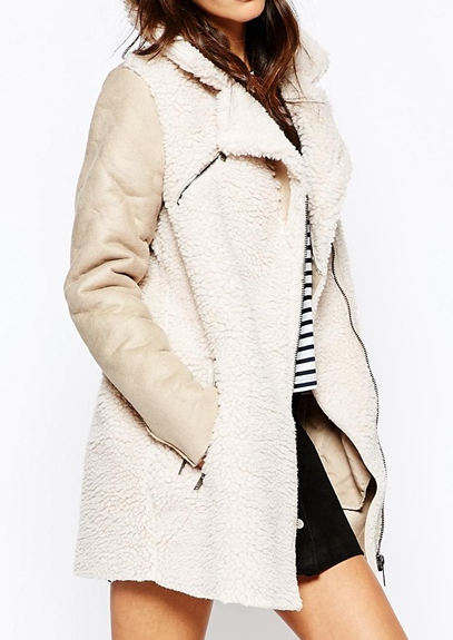 Only Faux Shearling Biker Jacket