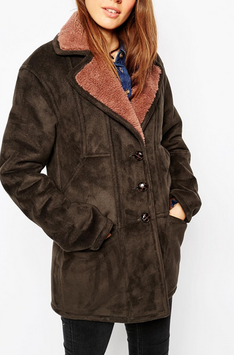 ASOS Coat In Faux Shearling