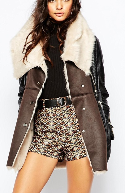 River Island Shearling Mix Coat