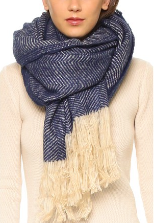 Spun Scarves by Subtle Luxury Chevron Fringe Scarf