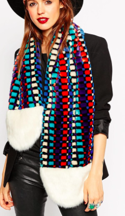 Asos faux fur colorful scarf