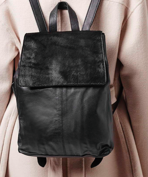Topshop leather pony hair backpack