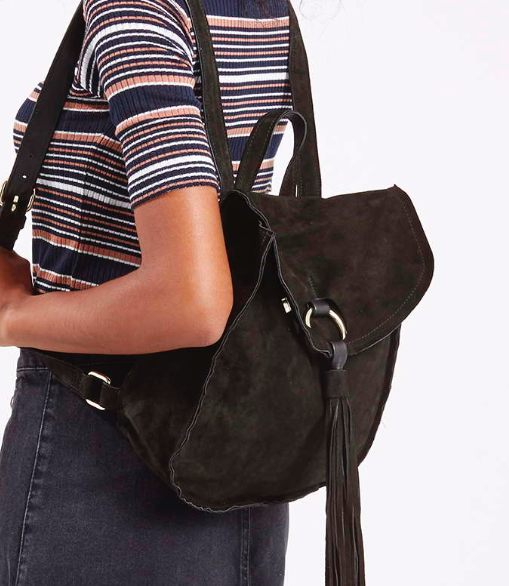 Topshop suede backpack