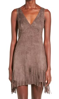 WHYTE EYELASH Faux Suede Fringe Dress