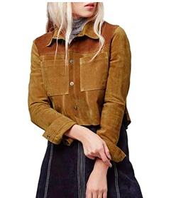 Topshop Colorblock Suede Shirt