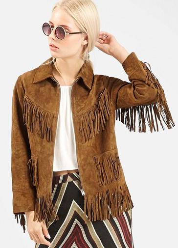 Topshop suede fringe jacket