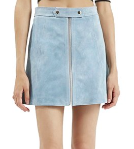 Topshop Button Tab Suede Skirt