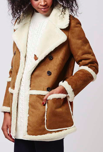 Topshop faux shearling and suede coat