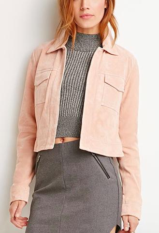 Forever 21 pink suede jacket