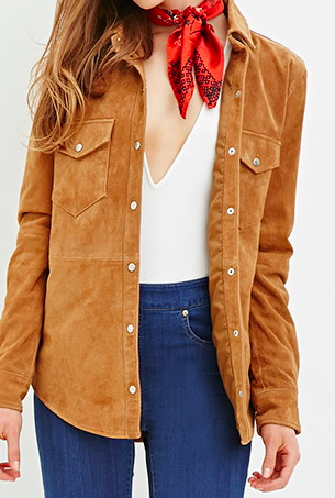 Forever 21 genuine suede shirt