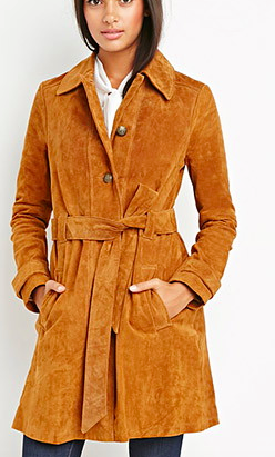 Forever 21 genuine suede wrap coat