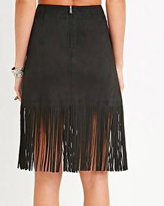 Forever 21 suede fringe skirt