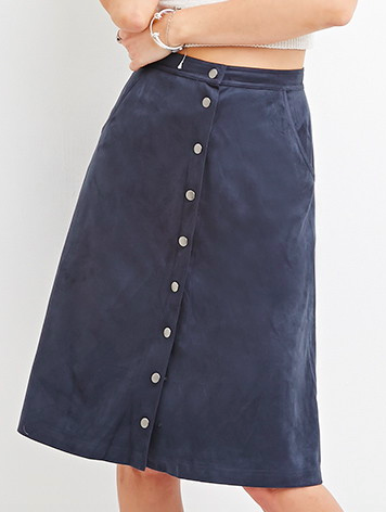 Forever 21 midi suede skirt