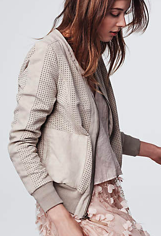 Anthropologie faux suede bomber jacket