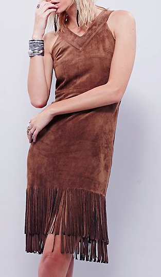 JOA fringe suede dress