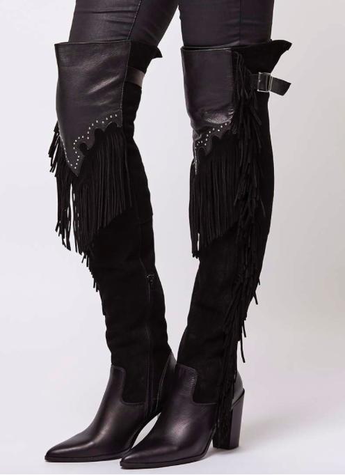 Topshop COWBOY Fringe High Leg Boots