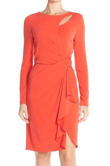 Tahari neon ruffle dress